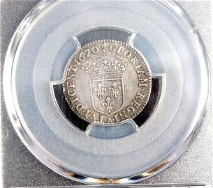 French Colonies - 5 Sols 1670-A PCGS AU50 Noted :