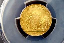 Vatican - 1950 Holy Year 100 Lire Gold Coin KM-48