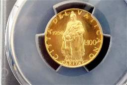 Vatican - 1956 Anno XVIII 100 Lire Gold Coin Certified