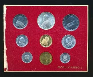 VATICAN CITY 1959 KM# MS-60 A 9 Piece Complete Gold Set
