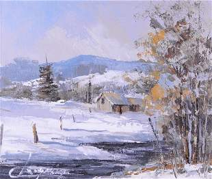 Langevin, Claude - Scène de campagne en hiver