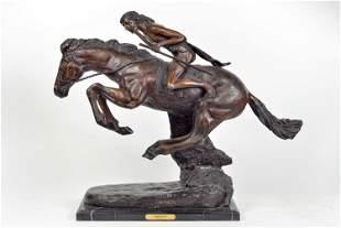 Remington, Frederic - Bronze sculpture, indian on horse