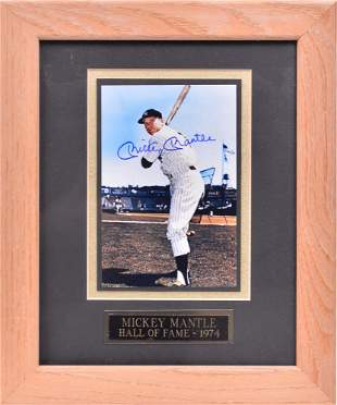Autographed photograph of Mickey Mantle