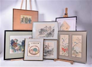 École chinoise / Chinese school - Lot of 7 prints