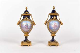 Pair of miniature bronze and porcelain urns - c.1800