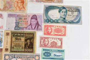 Collection of world banknotes