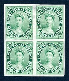 Canada 1857 #9P block of 4, stamps F-VF (*).