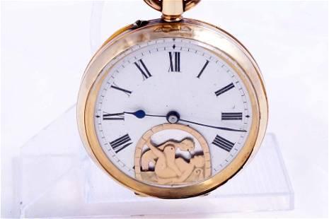 Antique erotica mouving figures 14K gold pocket watch -