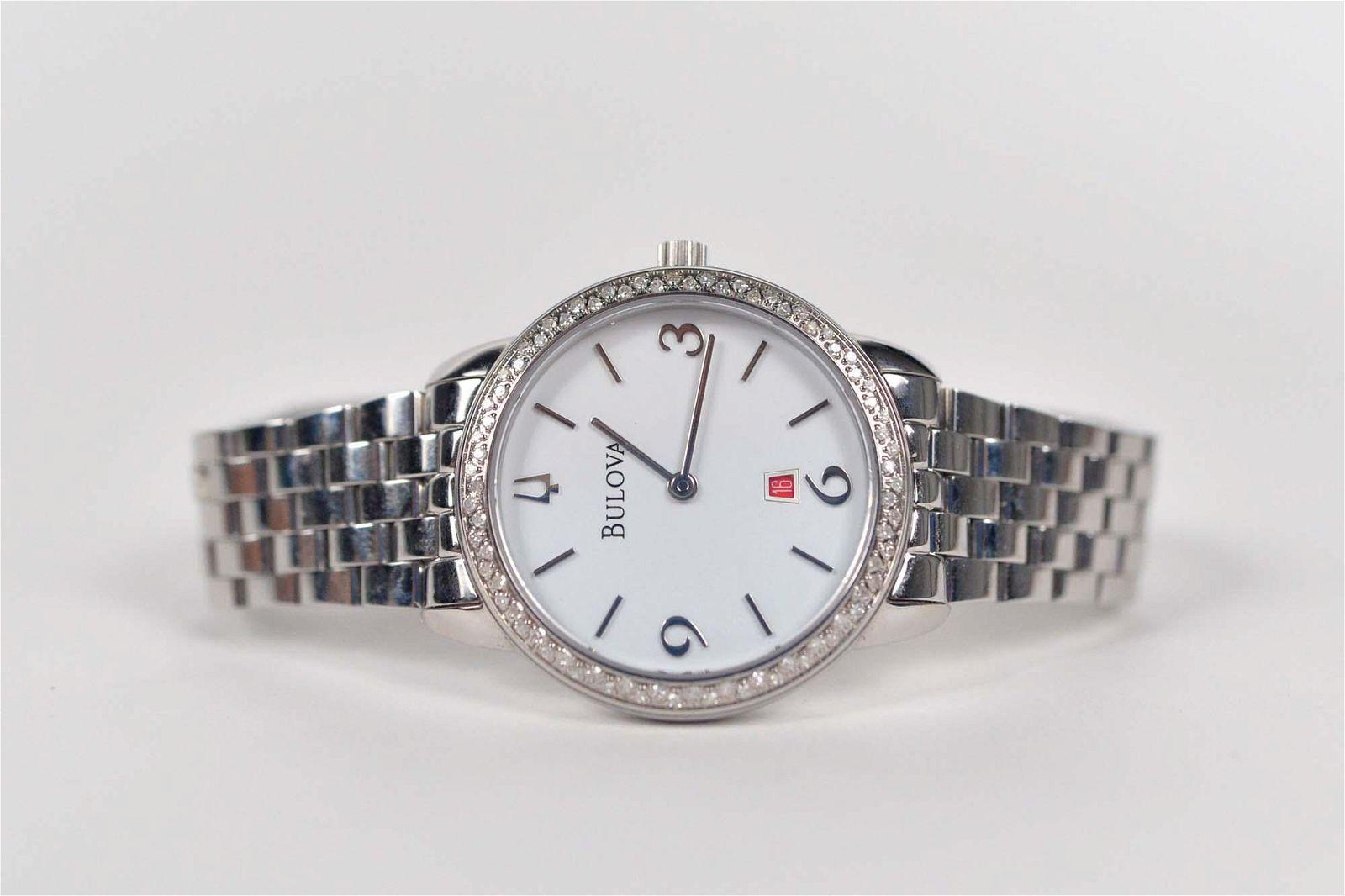 Bulova - Ladies watch set with diamonds