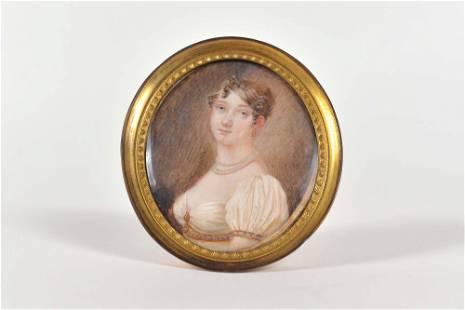 Miniature portrait of young woman - c.1850