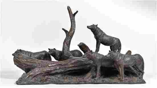 Bronze sculpture, wolf pack