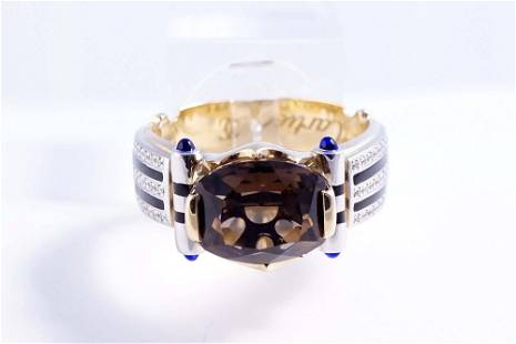 Cartier - 18K yellow and white gold men's ring set with