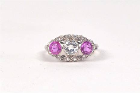 14K white gold vintage ring set with diamonds and pink