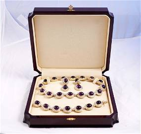 Lou - Vintage 14K gold set with diamonds and amethysts