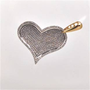 14K white and yellow gold heart pendant set with 375
