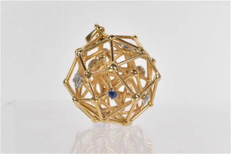 18K gold pendant with diamonds