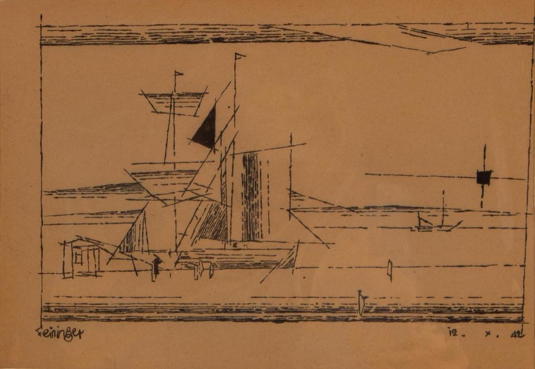 Lyonel Feininger    A Sailing Ship at a Dock  (1942) - 2