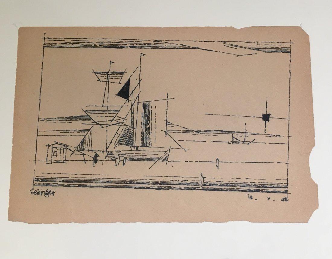 Lyonel Feininger    A Sailing Ship at a Dock  (1942) - 3