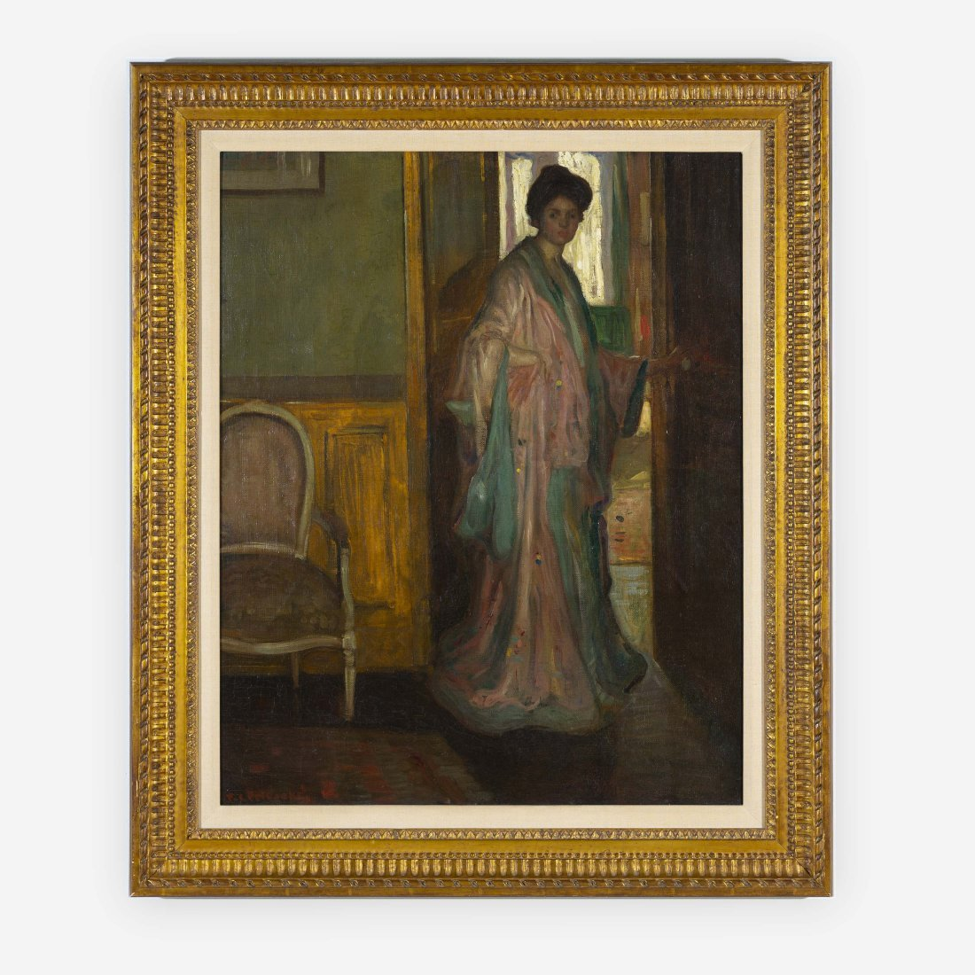 Frederick Carl Frieseke - Woman in Silk Robe standing