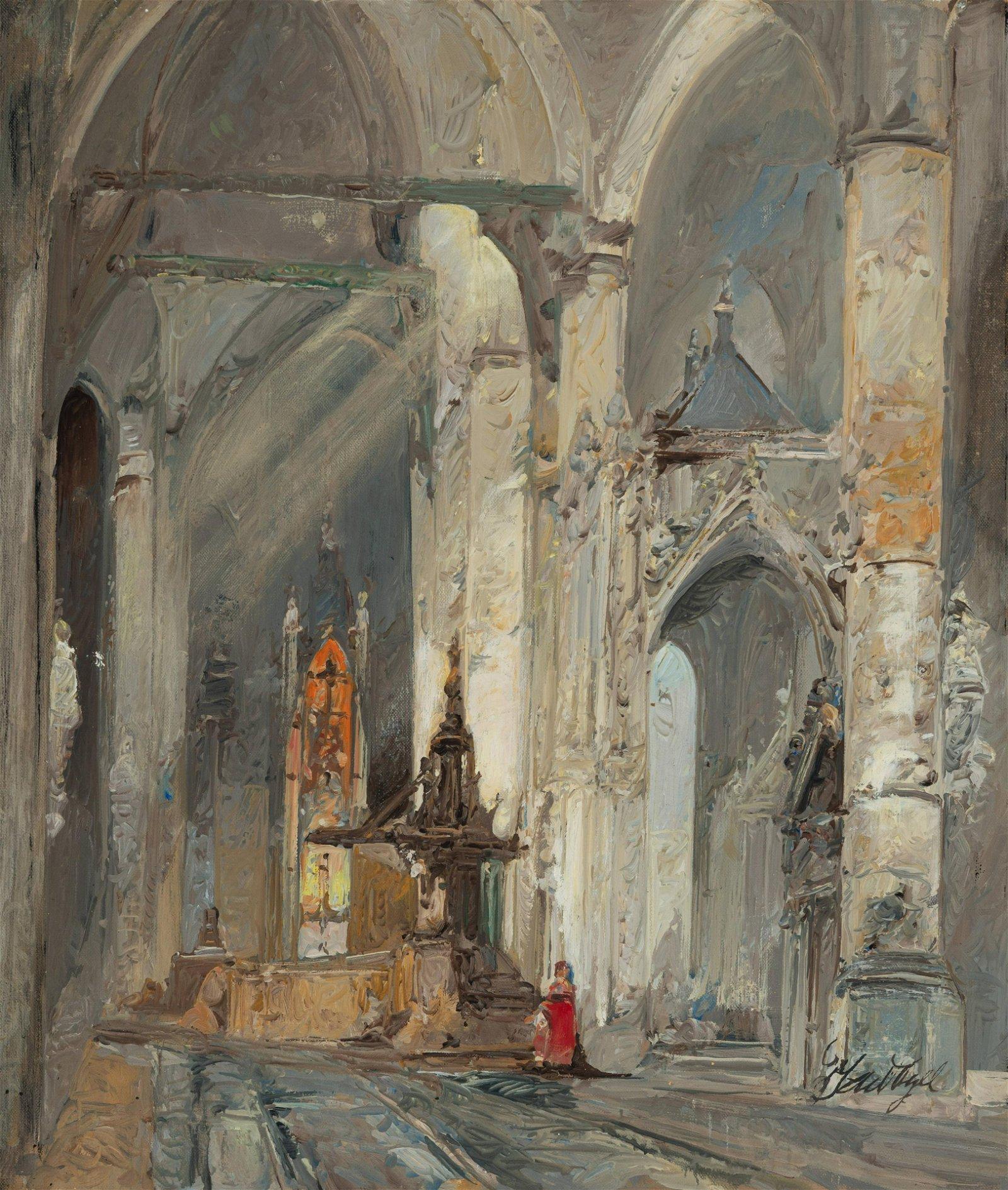 Jan de Vogel - Cathedral Interior in Prayer
