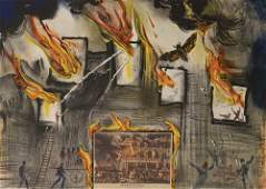 Salvador Dali - Currier & Ives series: Fire Fire Fire