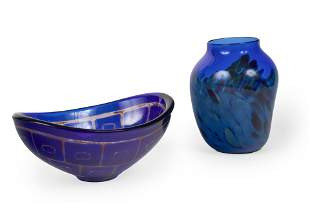 Sven Palmqvist for Orrefors  - Wide Blue Dish with gold