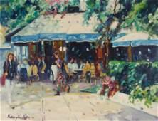 Lisandro Lopez Baylon - Cafe in Blue & White