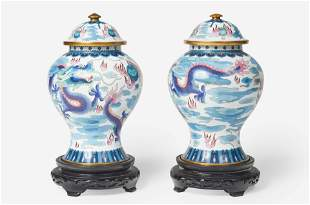 A Pair of Chinese Cloisonné Lidded Temple Vases with