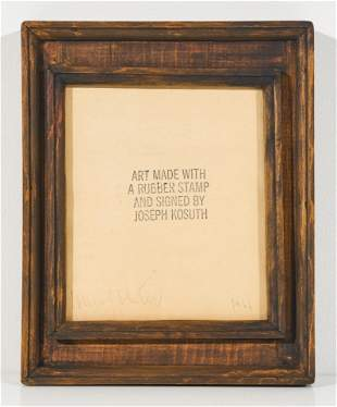 Joseph Kosuth - Art Made With A Rubber Stamp And Signed