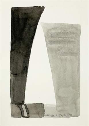 Menashe Kadishman - Geometric Watercolor