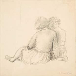 Clara Klinghoffer - Girls Reading-original drawing for