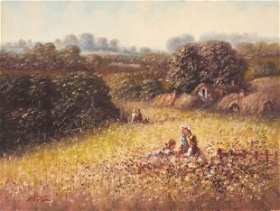 Laszlo Ritter - Field by Thatched Cottages