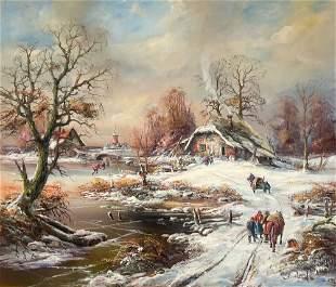 Albrecht Brinkmann - Winter Skating Scene