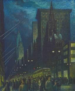 Ernest Fiene - Winter Evening Fifth Avenue