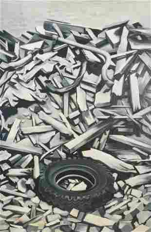 Lowell Nesbitt - New York Ruin with Tire