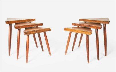 George Nakashima - Amoeba nesting tables, two sets of