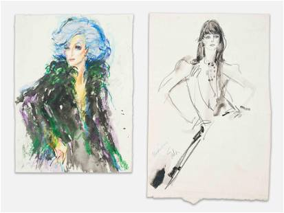Joe Eula - Two Works-Watercolor Portrait and