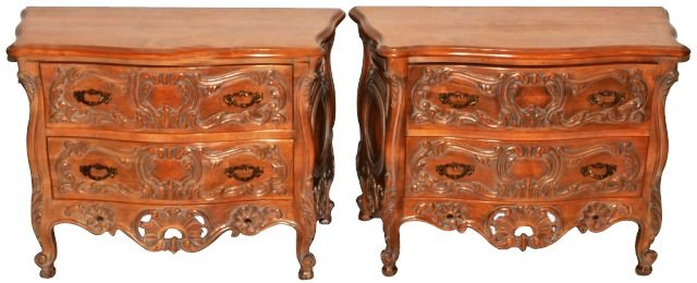PAIR CARVED FRENCH PROVINCIAL COMMODES.