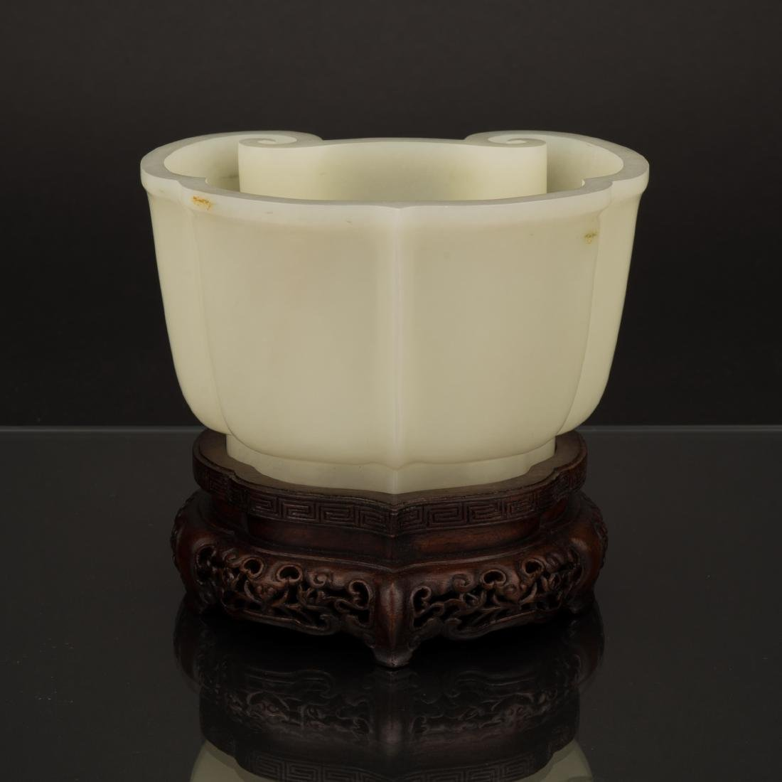 QING RUYI-SHAPED WHITE JADE CUP