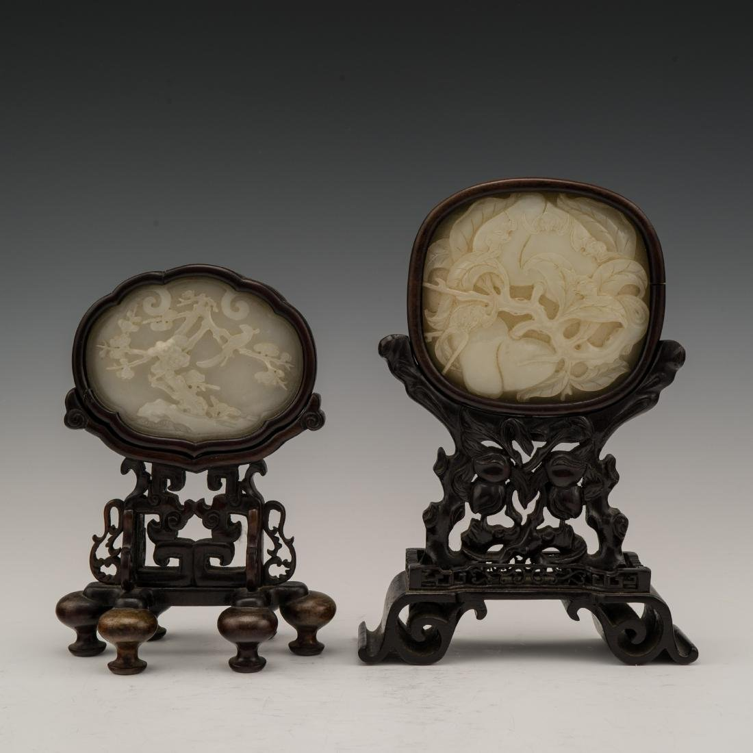 SET OF 2 PCS 19TH C JADE OVAL MEDALLION TABLE SCREEN