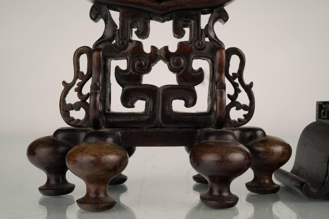 SET OF 2 PCS 19TH C JADE OVAL MEDALLION TABLE SCREEN - 2