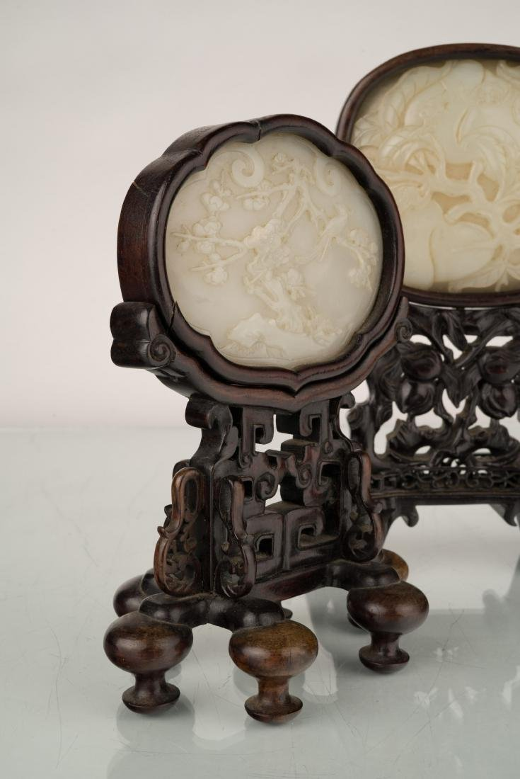SET OF 2 PCS 19TH C JADE OVAL MEDALLION TABLE SCREEN - 3