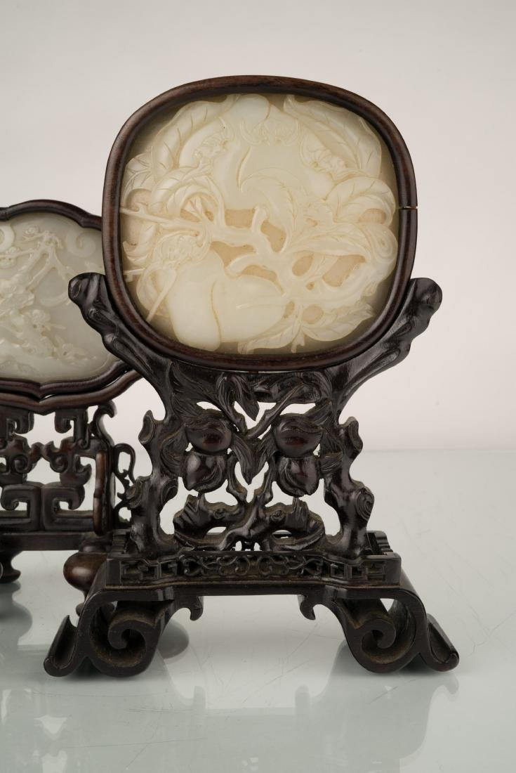 SET OF 2 PCS 19TH C JADE OVAL MEDALLION TABLE SCREEN - 7