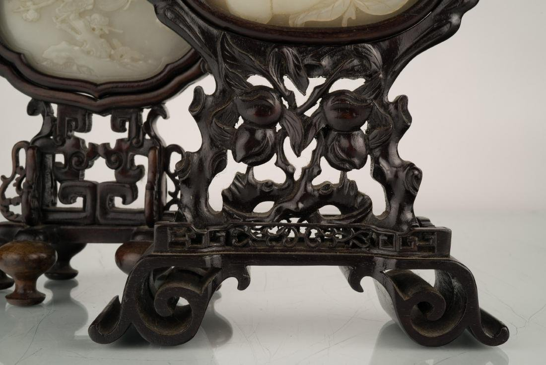 SET OF 2 PCS 19TH C JADE OVAL MEDALLION TABLE SCREEN - 8