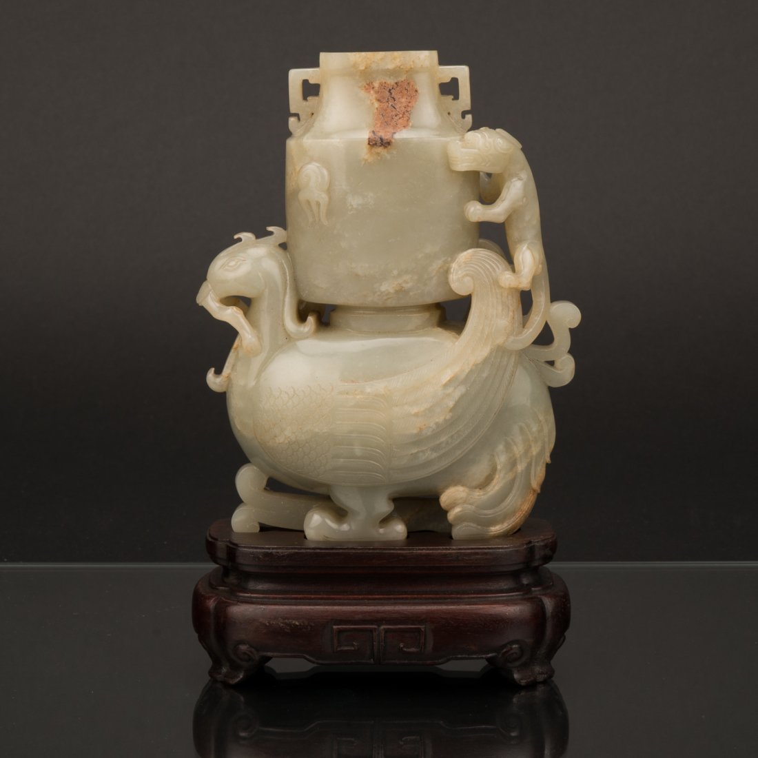 QING DRAGON & FLORAL COVERED JADE VASE