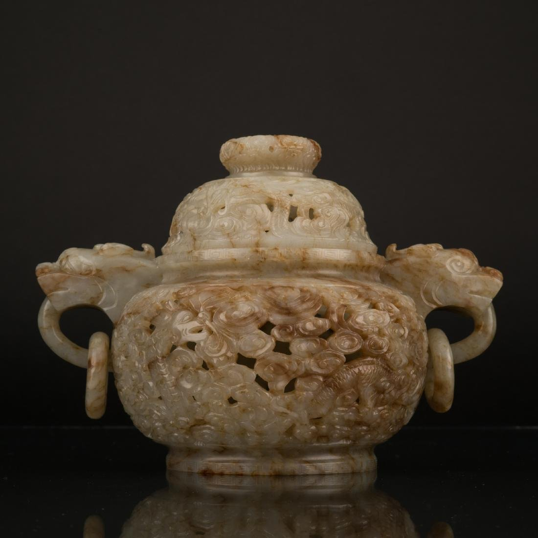 QING MUTTONFAT JADE CENSER WITH COVER
