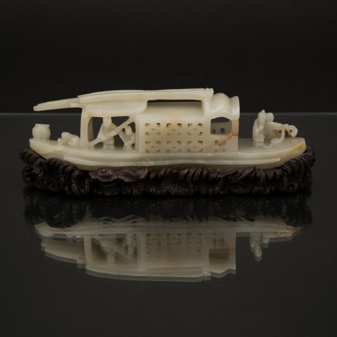 CARVED JADE OF FIGURES ON BOAT