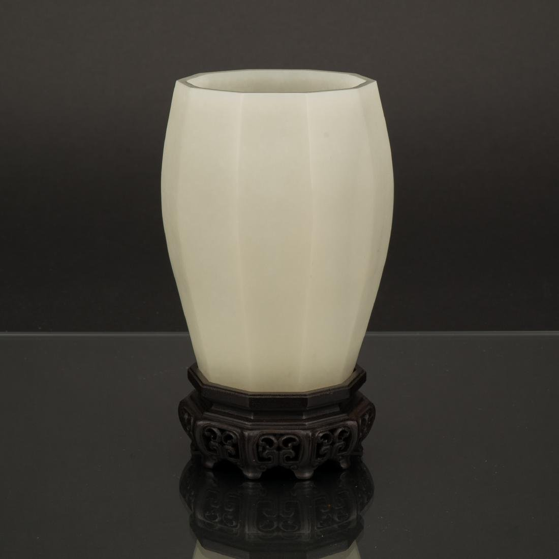 CARVED WHITE JADE BRUSH POT ON STAND
