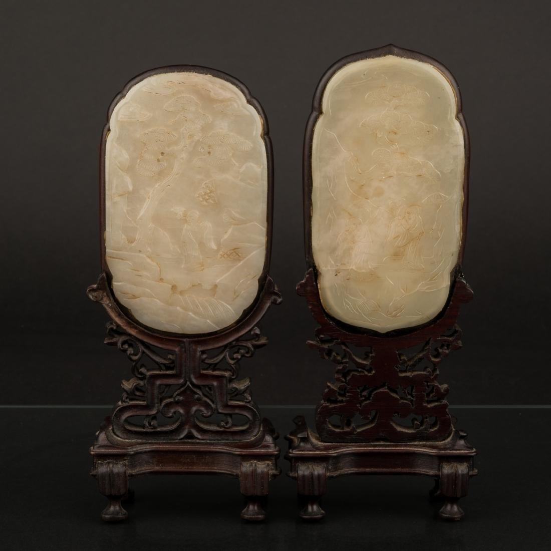 SET OF 2 PCS 19TH C WHITE JADE PLAQUES