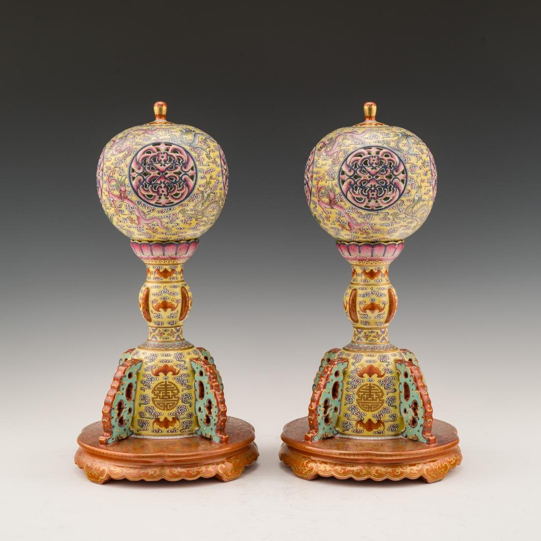 PAIR OF SGRAFITTO PORCELAIN LAMPS